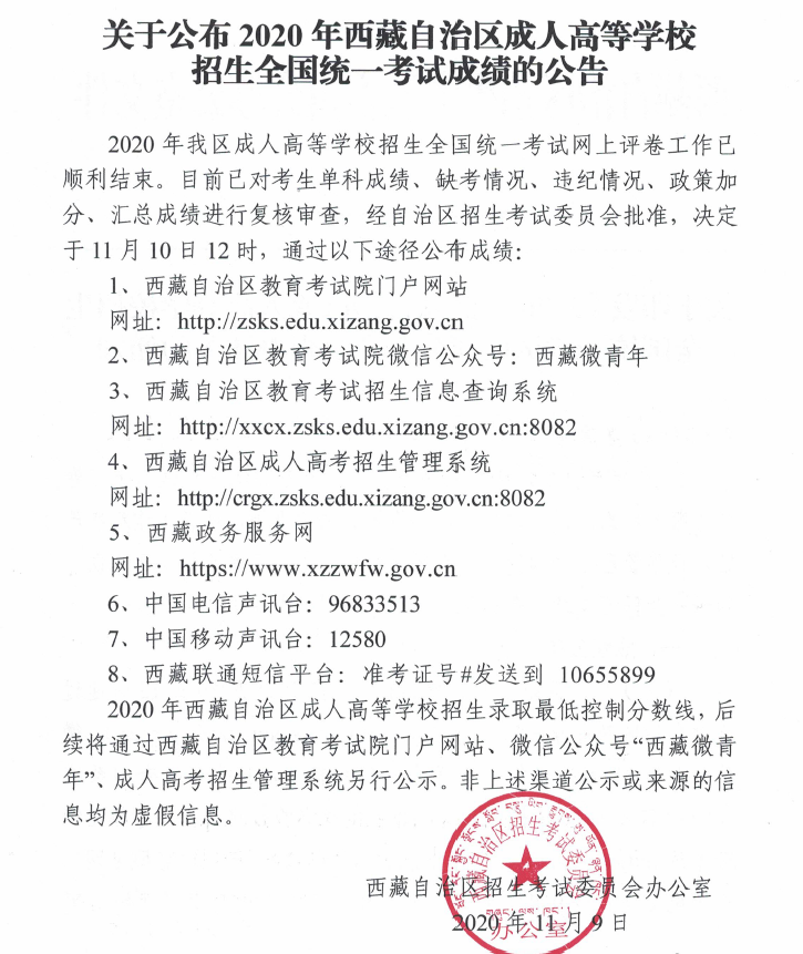2020年西藏成人高考录取分数线